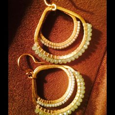 "PR. Chan Luu Goldtone Double Hoop mint beads Re-posh: wore these to special event- Time to let them make someone else sparkle! These are just so pretty & feminine.  Approx. 2"" long; 2"" w- not too long. Lightweight, excellent pre owned condition . I purchased for $50- letting them go at quite a bargain. Absolutely ❤️Chan Luu Chan Luu Jewelry Earrings"