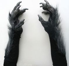 Killer Gray Werewolf Wolf Claws Hands Adult Scary Halloween Costume Gloves