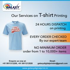 ‪#‎GalaxyDigitalPrint‬ offers a high-capacity, reliable ‪#‎TShirtPrinting‬ and fulfilment service to its customers. Place your bulk order and get your ‪#‎TShirt‬ printed at very affordable price. Call us now at: 9911312255, 9911212520