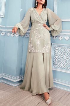 Buy Embroidered Kurta Palazzo Set by Mahima Mahajan at Aza Fashions - Indian designer outfits - Party Wear Indian Dresses, Pakistani Dresses Casual, Designer Party Wear Dresses, Indian Gowns Dresses, Dress Indian Style, Indian Fashion Dresses, Pakistani Dress Design, Indian Designer Outfits, Indian Outfits
