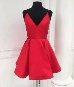 Cute v neck red short prom dress, red homecoming dress