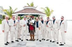 love the navy shirts & the random groomsman, arrrg! photo by Caroline & Evan Photography
