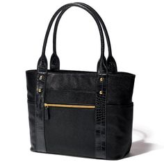 """Get organized with the world-famous Butler Bag. Black leatherlike tote features goldtone hardware, faux-croc accents and the exclusive Butler organizational tray. Measures 11"""" H x 16 1/4"""" W x 5 1/4"""" D. Handle drop, 9"""". Fully lined"""