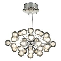 Coupe 37-Light Polished Chrome Pendant with Clear with Inner Frost Glass Glass -Halogen