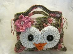 Crocheted Owly Hand Bag for ChildrenPink by CountryBumpkinBottle, $12.00