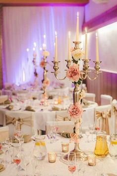 Luxury. Gold, beige and pink wedding accent. Wedding decoration. 5 arms candle stand holder. Candlestick. Flower centerpieces. Realization by @catering5s, photo by @palocibula Be inspired by @theinspirassion