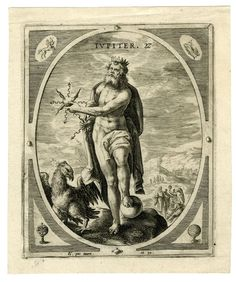 Jupiter; with an eagle, and in his hands the thunderbolts; landscape with figures in the background; plate number 2. from a set of seven numbered plates and a titlepage; ovals in rectangels; in the corners the signs of the zodiac and related symbols; above the names of the planets. 1589