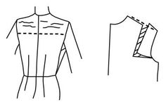 Illustration depicting pattern alteration of bodice for broad shoulders