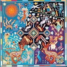 Huichol art - yarn painting is from visions created by peyote used in traditional ceremonies.  El Dzidzantunense: Dzidzantún / Arte y Cultura / Arte Mexicano
