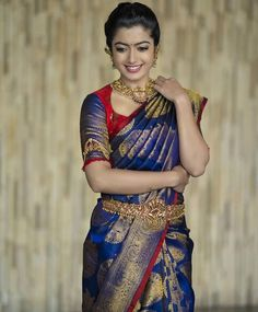 Your Official Guide to Find Best Half Saree Blouse Designs Pattu Saree Blouse Designs, Blouse Designs Silk, Bridal Blouse Designs, South Indian Blouse Designs, Bridal Sarees South Indian, Bridal Silk Saree, South Indian Weddings, Blue Silk Saree, Silk Sarees