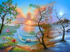 Jim Warren Fine Art Limited Edition Giclee on Canvas - Four Seasons Jim Warren, Angel Clouds, Image Blog, The Draw, Cross Paintings, Surreal Art, Four Seasons, Amazing Art, Illusions
