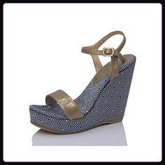 MTBALI - Sandalen mit Keilabsat, Damen - Modell Atenas - 38, Blau - Espadrilles für frauen (*Partner-Link)
