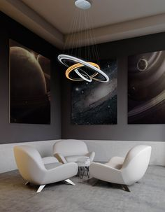 Eco Friendly, Modern, and stunning. This lighting fixture will double as your rooms centerpiece. Each Ring with its own ability to change Temperature colors independently.  Truly is Out of this world..