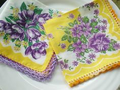 Vintage Flower Hankies Crochet  Purple by ChickieVintageLove, $8.75   <3 the purple and yellow!
