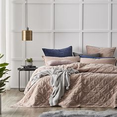 Home Republic - Cotton Velvet Coverlet Pink - Bedroom - Quilt Covers & Coverlets - Adairs Online