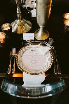 Romantic modern wedding menu | Brandon Scott Photography