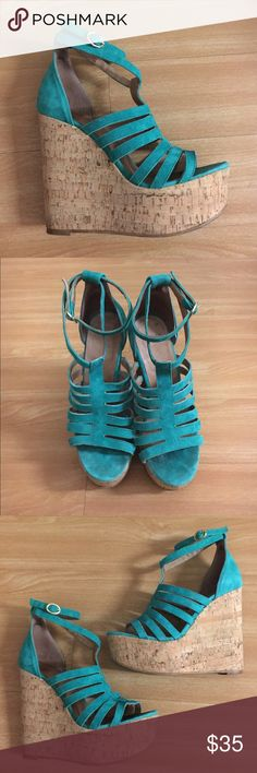 """TOPSHOP turquoise Wedge Sandals - size 37 EUR Turquoise suede, cork wedge sandals by TOPSHOP. Size 7, fits true to size. 5"""" inch heel, 1.5"""" inch platform. Made in Spain. Pre-owned, minimal signs of wear. Topshop Shoes Sandals"""