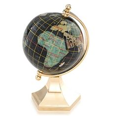 Black Opalite 3-inch gemstone globe with contempo gold stand