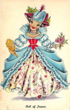 Doll of France Dolls of Many Lands Vintage Postcards Paper Dolls Book, Vintage Paper Dolls, Old Cards, Paper Cards, Vintage Greeting Cards, Vintage Postcards, Vintage Pictures, Vintage Images, Decoupage