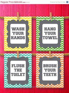 80% OFF SALE Chevron Kids Bathroom Rules by WeLovePrintableArt