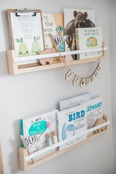 In the Nursery with NashStyling - Project Nursery : Nursery Book Wall Shelves - Project Nursery Boys Room Decor, Nursery Wall Decor, Nursery Room, Baby Room, Elephant Nursery, Nursery Ideas, Bedroom, Twin Nursery Gender Neutral, Nursery Twins
