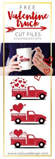 Free Valentine old truck SVG, PNG, EPS, DXF compatible with Cricut, Cameo Silhouette. need to make this from jordyn to lucian :) Valentine Decorations, Valentine Day Crafts, Valentine Heart, Free Valentine Clip Art, Valentine Flowers, Valentine Ideas, Machine Silhouette Portrait, Free Printable Clip Art, Silhouette Cameo Projects