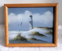 Small PAINTING LIGHTHOUSE SEASCAPE Sea Shore CLOUDS BIRDS FOG signed DAVID #Realism