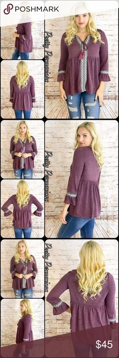 """NWT Embroidered Bell Sleeve Hacci Babydoll Top SALE ‼️ NWT """"For The Love Of Flowers"""" Bell Sleeve Hacci Babydoll Top  Available in S, M, L Measurements taken from a small  Length: 26""""/27.5"""" (front/back length) Bust: 38"""" Waist: 38""""  Color: Plumb  Features  • acquard tape detailing w/tassels  • split v-neckline • bell sleeves • seriously soft, comfortable, breathable material with stretch (acrylic/nylon) • relaxed, easy fit  Bundle discounts available  No pp or trades  Item # 1/205290400LOFT…"""