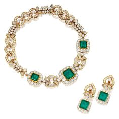 18 Karat Gold, Emerald and Diamond Necklace and Earclips, Tabbah, France | Lot | Sotheby's