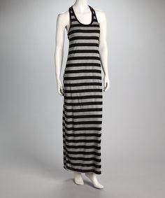 Gray & Black Stripe Racerback Maxi Dress