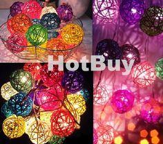Multi colors DIY home decoration 20 pcs LED Rattan Ball String Dia. 5cm 200 cm length Christmas multiclolor rattan ball light-in LED String from Lights & Lighting on Aliexpress.com | Alibaba Group
