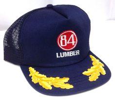 ef218210387 vtg 84 LUMBER TRUCKER HAT Navy-Blue Red Yellow Olive Branch Snapback  Men Women  Trucker