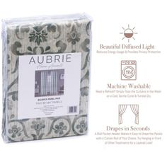 """Aubrie Home Bulwick 84"""" Window Curtains 2-Panel Pair Floral Scroll, Grey Green Scroll Pattern, Diffused Light, Rod Pocket, Curtain Rods, Window Curtains, Green And Grey, Windows, Floral, Home"""