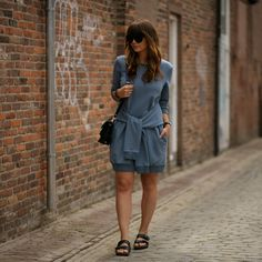 Front Row Shop Sweater Dress, Birkenstock Sandals, Proenza Schouler Bag, &Other Stories Sunglasses, Daniel Wellington Watch