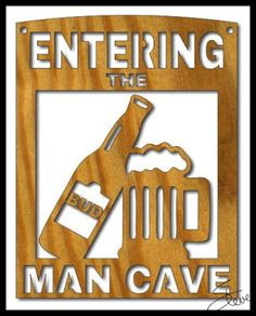 Man Cave Scroll Saw Pattern from #SteveGood (this one has #beertheme) #beermug #beerbottle #freescrollsawplansandprojects donations appreciated #fretwork #DIYsign #mancave #woodworking http://scrollsawworkshop.blogspot.com/2016/02/man-cave-sign-scroll-saw-pattern.html Scrollsawworkshop PDF download