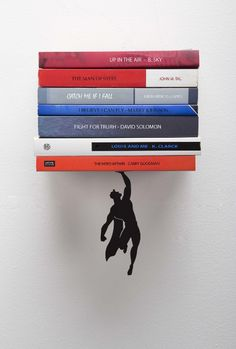 "Artori Design ""Supershelf"" - Black Metal Superhero Floating Book Shelf, Unique Bookshelvs, Gifts for Geeks, Gifts for Book Lovers, Cool Book Stacker"
