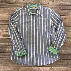 LL Bean Womens Blue Stripe Long Sleeve Button Down Flip Cuff Work Career Shirt L #LLBean #ButtonDownShirt