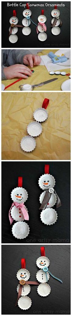 Enfeite natalino bonecos de tampinhas