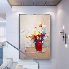 Original acrylic flowers abstract paintings on canvas wall art pictures for living room home hallway wall decor thick texture quadros decor - Abstract Painting Abstract Canvas, Canvas Wall Art, Acrylic Canvas, Canvas Canvas, Art Mur, Photo D Art, Acrylic Flowers, Gold Flowers, Arte Floral