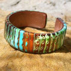 Rustic Turquoise Blue and Copper Cuff Bracelet