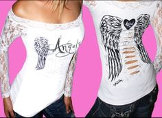 Angel wings lace shirt