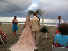 Simple Beach wedding alter from palm leaves