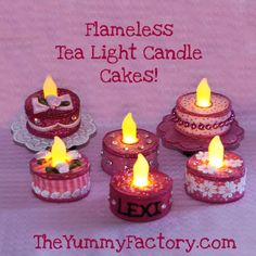 Tea Light Birthday cakes done in the hoop. (I don't have the equipment for this, but I think I could use other techniques to approximate it.)