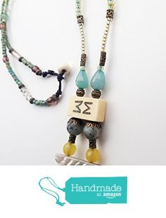 Necklace, Handmade, Beaded, Vintage Bone Mahjong, Czech Crystal, Mother of Pearl, Blue, Stone, Yellow, Brass Metal Beads from ART::WEAR Necklaces by Cherie Lester https://www.amazon.com/dp/B01MS8I9XJ/ref=hnd_sw_r_pi_dp_XCtHybAX5FF90 #handmadeatamazon
