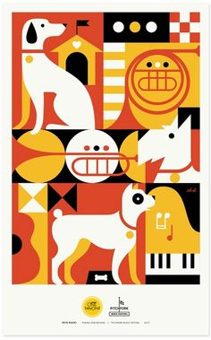 Creative Illustration, Pets, Rock, Posters, and Piano image ideas & inspiration on Designspiration Dog Illustration, Graphic Design Illustration, Modern Graphic Design, Graphic Design Inspiration, Graphic Art, Gig Poster, Beautiful Posters, Festival Posters, Jazz Festival