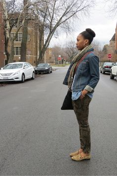 Camo skinnies, leopard flats, and a denim jacket