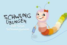 Schwungübungen mit Sina Schwungwurm_Vorschule Hallo liebe Wolke Kindergarten Portfolio, In Kindergarten, Motto, Disney Characters, Fictional Characters, Preschool, Family Guy, Disney Princess, Freebies