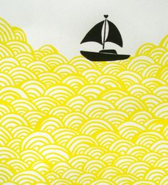 waves of yellow, with a small ship venturing across its vast stretching colors