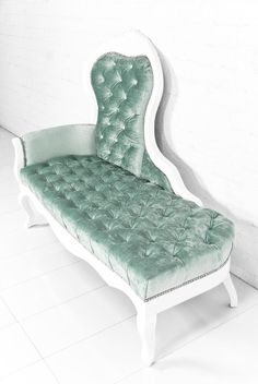 Riviera Chaise lounge in Aqua Velvet