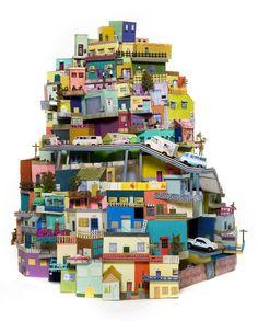 Spectacular Cardboard City – Cartonlandia by Ana Serrano Cardboard City, Cardboard Sculpture, Cardboard Houses, Cardboard Cartons, Cardboard Paper, Clay Houses, Paper Sculptures, Paper Houses, Sculpture Art
